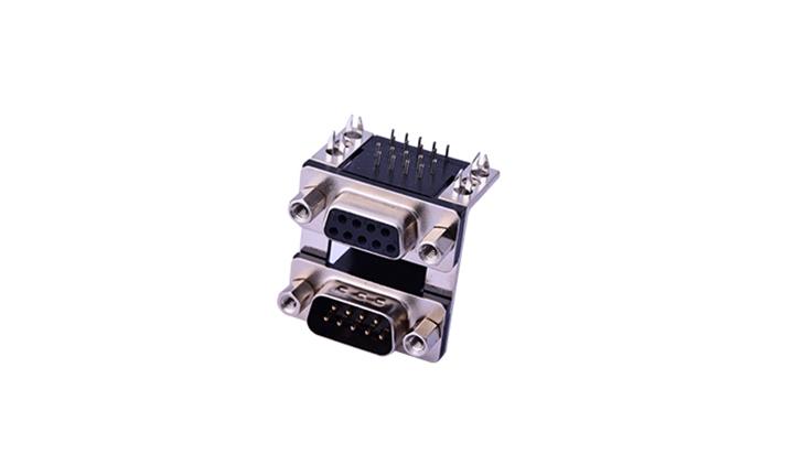 FDB1802 组合连接器 90°插件 D-SUB 9公 黑色+9母 黑色