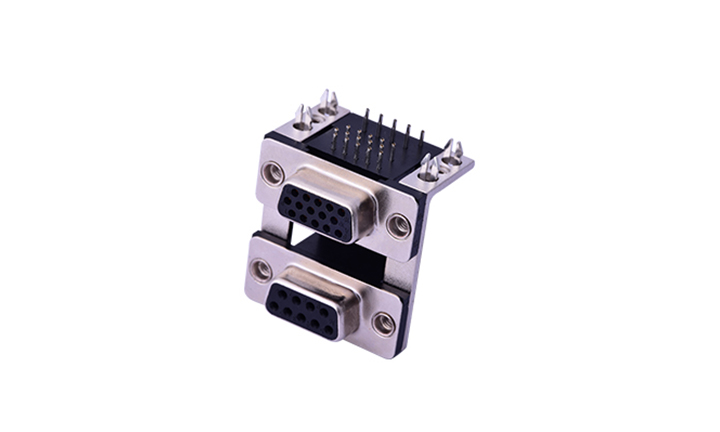 FDB2403 组合连接器 90°插件 D-SUB 9母 黑色+15母 黑色