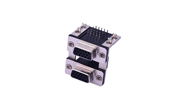 FDB3003 组合连接器 90°插件 D-SUB 15母 黑色+15母 黑色