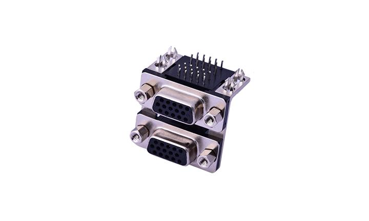 FDB3006 组合连接器 90°插件 D-SUB 15母 黑色+15母 黑色