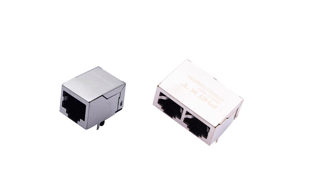 FRJ45007 RJ45连接器  10P8C 90°插件 单/双口