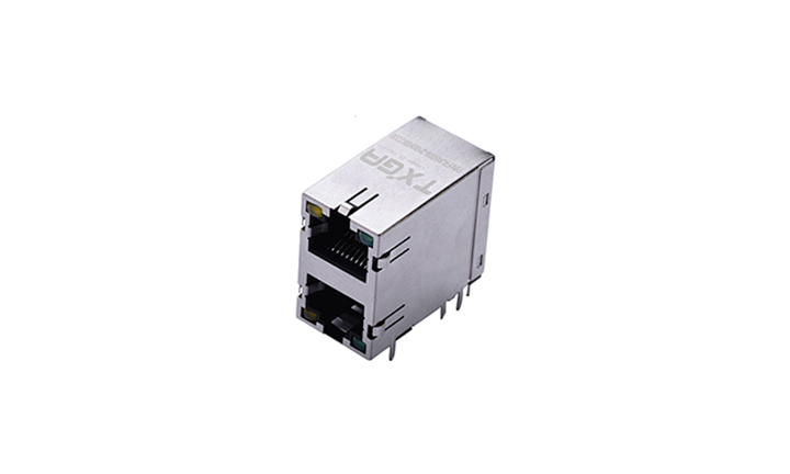 FRJ45009 RJ45连接器  8P8C 90° 插件 双层双口(LED)
