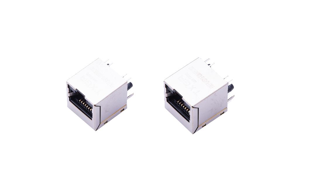 FRJ45018 RJ45连接器 8P8C 180°插件 单口 1000Base-T(LED)