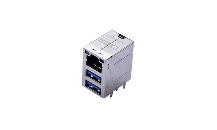 FRJ45024 RJ45与USB3.0组合接头 90°插件 1000Base-T(LED)