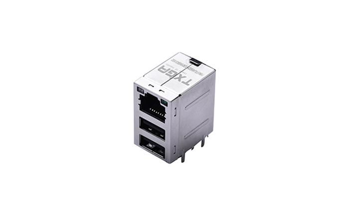 FRJ45025 RJ45与USB2.0组合接头 90°插件 1000Base-T(LED)