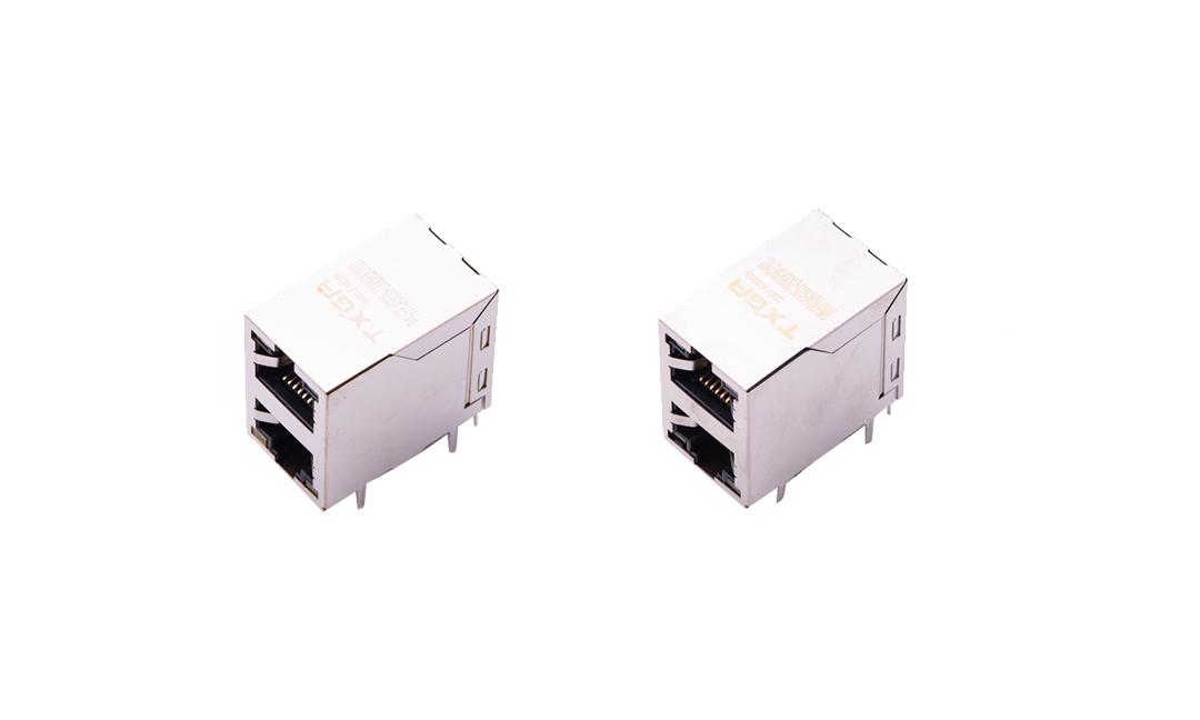 FRJ45035 RJ45连接器 10P8C 90°插件 双层双口 100Base-T(LED)