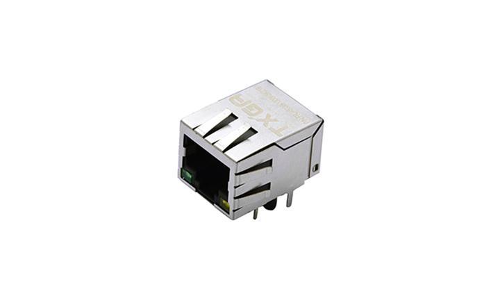 FRJ45036 RJ45连接器 10P8C 90°插件 单口 100Base-T(LED)
