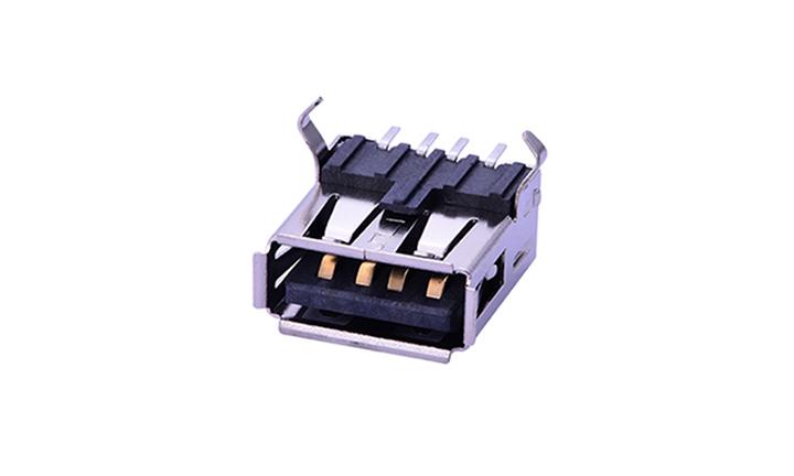 FUS201 USB A型 4触点 卧贴 母座