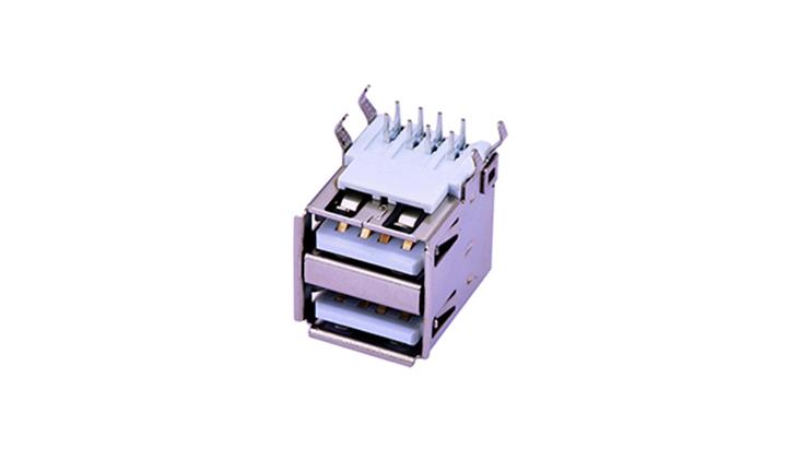 FUS208 USB A型 双层8触点 90°插件 母座