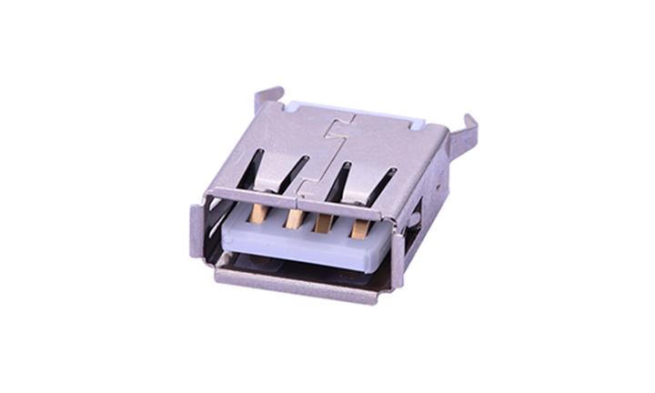 FUS218 USB2.0 母座  4Pin 180°插件 铁壳