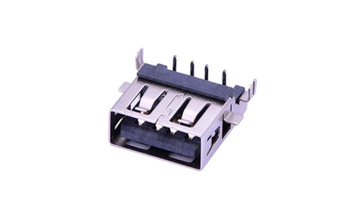 FUS232 USB A型 4触点 90°插件 母座 (沉板)
