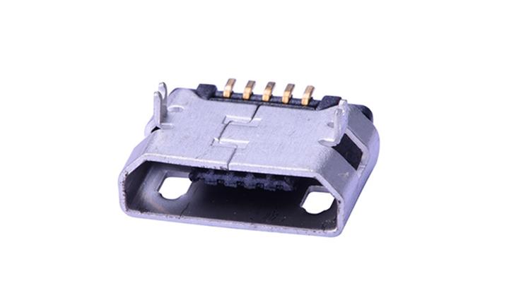 FUS411 Micro USB B Type 5Pin 母座 前插后贴 无卷边