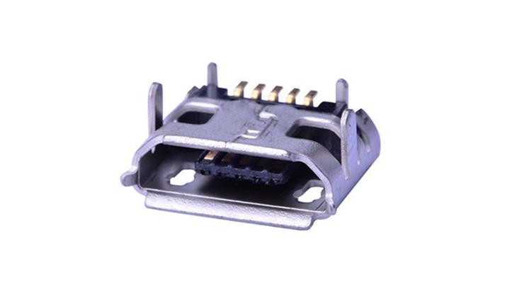 FUS417 Micro USB 母座 5触点 SMT 带鱼叉 插板脚间距7.15mm