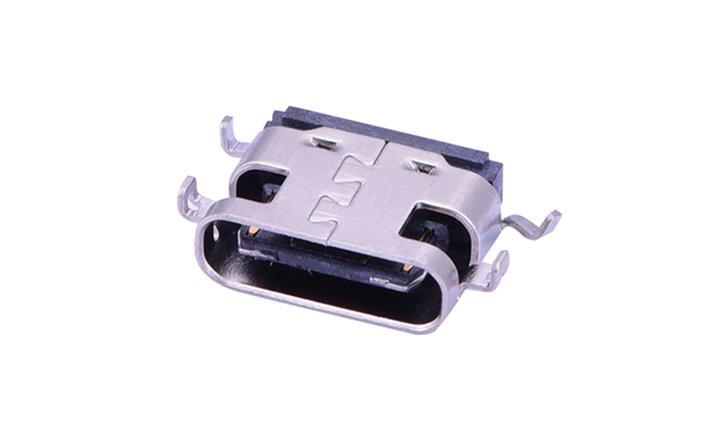 FUS611 USB3.1 C型 16触点 卧贴 母座 黑色(沉板1.6)